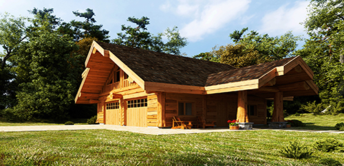 Log garages and log barns floor plans bc canada for Log home plans with garage